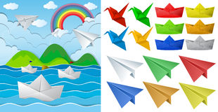 Ocean scne and paper origami in different objects Stock Photos