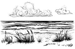 Ocean or sea beach with stormy waves, grass and cloud, sketch. Ocean or sea beach with waves, sketch. Black and white vector illustration of sea shore with vector illustration