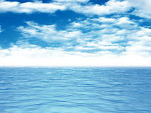 Ocean Sea Calm Water Waves Under Blue Cloud Sky. 3d Render Illustration Stock Photos