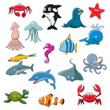 Ocean or sea cartoon isolated characters Stock Photo