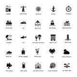 Icon Set of Sea Life Glyph Icons. Ocean and sea exploration are more about your favorite marine life..!nThese 207 glyph icons contains all, from holiday concept Royalty Free Stock Photos