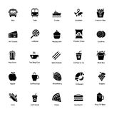 Set of Ocean and Sea Life In Glyph Style Icons royalty free illustration