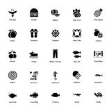 Sea Life Glyph Icons Collection. Ocean and sea exploration are more about your favorite marine life..!nThese 207 glyph icons contains all, from holiday concept Royalty Free Stock Images