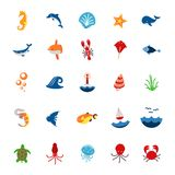 Ocean or sea logo with with animals and fish, shellfish Stock Image