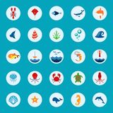 Ocean or sea logo with with animals and fish, shellfish Stock Photos