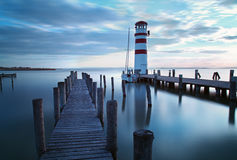 Ocean, sea pier - lighthouse.  royalty free stock photo