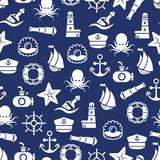 Ocean or sea seamless pattern with anchor boat bottle shell octopus Stock Photo