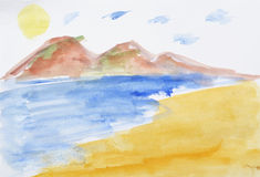 Ocean sea sun sand in water coloring Stock Photography