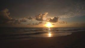 Ocean sea sunrise on caribbean island beach. Punta Cana, Dominican Republic.  stock footage