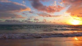Ocean sea sunrise on caribbean island beach. Punta Cana, Dominican Republic stock video footage