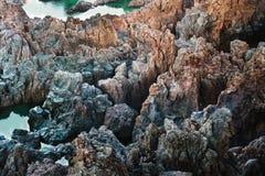 Ocean sea water black volcanic rocky shore rough seas background Porto Moniz Madeira Royalty Free Stock Photo