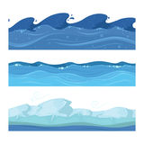 Ocean or sea water waves. Vector set of horisontal seamless patterns for ui games Royalty Free Stock Photos