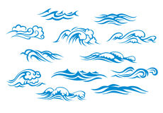 Ocean and sea waves. Set isolated on white background royalty free illustration