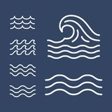 Ocean, sea waves flat simple lines, icons royalty free stock image
