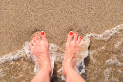 Ocean Sea Waves And Girl Feet On Sandy Beach Royalty Free Stock Image