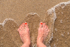 Ocean Sea Waves And Girl Feet On Sandy Beach Royalty Free Stock Images