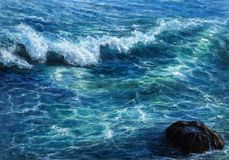 Ocean or sea waves. Original oil painting showing waves in  ocean or sea on canvas. Modern Impressionism, modernism,marinism Royalty Free Stock Photos