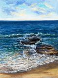 Ocean  or sea waves. Original oil painting showing waves in  ocean or sea on canvas. Modern Impressionism, modernism,marinism Stock Photography
