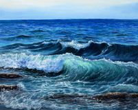 Ocean or sea waves. Original oil painting showing waves in  ocean or sea on canvas. Modern Impressionism, modernism,marinism Stock Photos