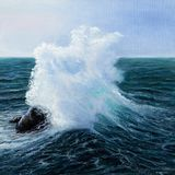 Ocean or sea waves. Original oil painting showing waves in  ocean or sea on canvas. Modern Impressionism, modernism,marinism Royalty Free Stock Images