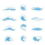 Ocean or sea waves. Surf and splashes set curling and breaking in a pretty turquoise blue for marine and nautical themed concepts, vector illustration on white Royalty Free Stock Images