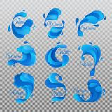 Ocean and sea waves with water drops isolated. Water drops of ocean or sea, river or lake waves. Set of isolated wavy liquid and curvy aqua symbols of nature in stock illustration