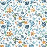 Ocean - seamless sea pattern on white field Royalty Free Stock Photos