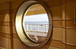 Ocean seen through cruise window Royalty Free Stock Photography