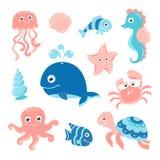Ocean set with cartoon sea animals Royalty Free Stock Photography