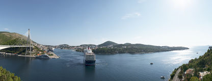 Ocean ship goes to sea. Port of Gruz, Dubrovnik Royalty Free Stock Photos