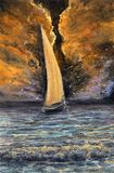 Ocean and ship. Original abstract oil painting of ship Royalty Free Stock Photo