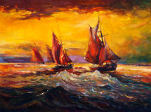Ocean and ship. Original oil painting of sail ship and sea on canvas.Rich golden sunset.Modern Impressionism Stock Image
