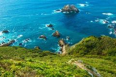 Ocean Shore Coastal California. Green Ocean Shore Coastal California, United States. Pacific Ocean Shore Royalty Free Stock Photos