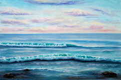 Ocean shore. Original oil painting showing ocean or sea,shore or beach on canvas. Modern Impressionism, modernism,marinism stock photography
