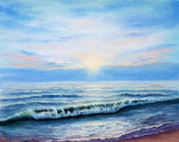 Ocean shore. Original oil painting showing ocean or sea,shore or beach on canvas. Modern Impressionism, modernism,marinism royalty free stock photos