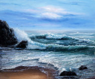 Ocean shore. Original oil painting showing  ocean or sea on canvas. Modern Impressionism, modernism,marinism Stock Image