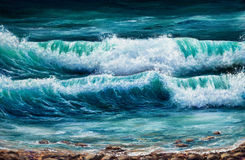 Ocean shore. Original oil painting showing  ocean or sea on canvas. Modern Impressionism, modernism,marinism Stock Photo