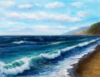 Ocean shore. Original oil painting showing  ocean or sea on canvas. Modern Impressionism, modernism,marinism Stock Photography