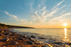 Ocean shore at sunrise Stock Photography