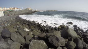 Ocean shore in Tenerife on sunny day, Canary islands, Spain, time lapse 4K stock video footage