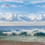 Ocean shore. At windy day, big waves on the water Stock Photo