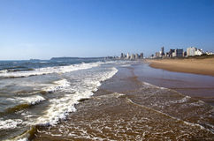 Ocean Shoreline with Hotels on Durban Beach Front Royalty Free Stock Photo