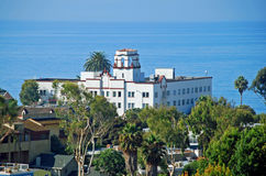 Ocean side Hotel Laguna in Laguna Beach, CA. Historic Hotel Laguna overlooking the Main Beach was built in 1930 in the Mission Revival style. Architecturally Stock Photos