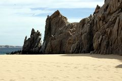 Ocean side rock formation Cabo San Lucas, Mexico Royalty Free Stock Photo