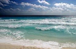 Ocean Sky Sand. Beach scene in Cancun, Mexico Stock Photography