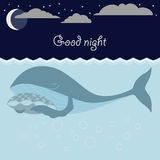 Ocean sleeping whales, moon, stars. Good night card. Stock Photos