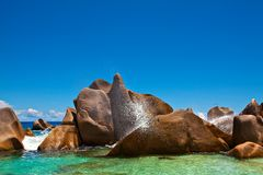 Ocean splash. Seychelles, La Digue Royalty Free Stock Image