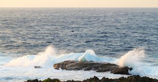 Ocean Spray Sunset Cape Zampa, Okinawa Japan. Stock Images