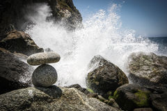 Ocean Spray. Waves crashing over rocks in California, USA Stock Image