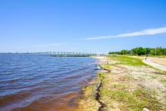 Ocean Springs Beach. Gulf coast beach in Ocean Springs, Mississippi Royalty Free Stock Photography